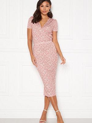 Bubbleroom Becky wrap dress Dark dusty pink / White