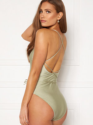 Bubbleroom Melia high thigh strap swimsuit Dusty green