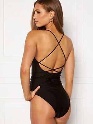 Bubbleroom Melia high thigh strap swimsuit Black