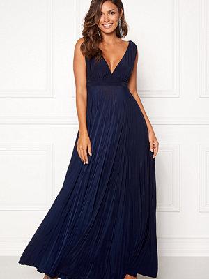 Goddiva Pleated Oscar Maxi Dress Navy