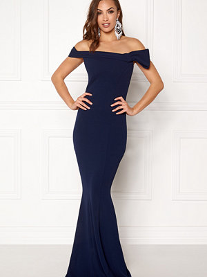 Goddiva Bardot Fishtail Maxi Dress Navy