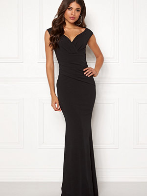 Goddiva Bardot Pleat Maxi Dress Black