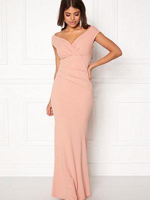 Goddiva Bardot Pleat Maxi Dress Nude