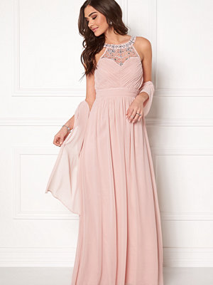 Goddiva Embellished Chiffon Maxi Dress Nude