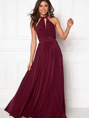 Goddiva Multi Tie Maxi Dress Berry