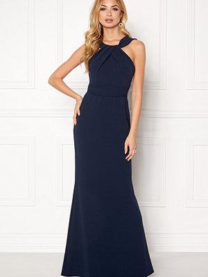 Goddiva Pleated Neckline Maxi Dress Navy