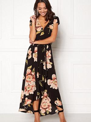 Ax Paris Floral Cap Sleeve Maxi Dress Black