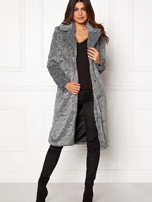 Y.a.s Pala Faux Fur Coat Dark Grey Melange