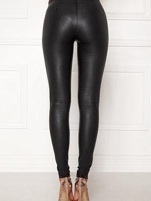 Selected Femme svarta byxor Sylvia Leather Legging Black