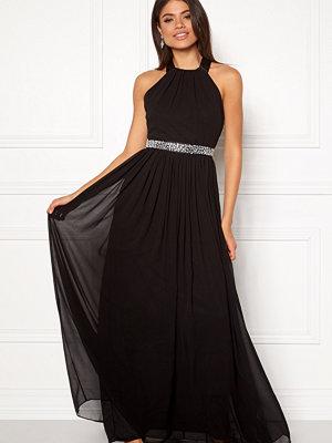 Goddiva Halterneck Chiffon Maxi Dress black