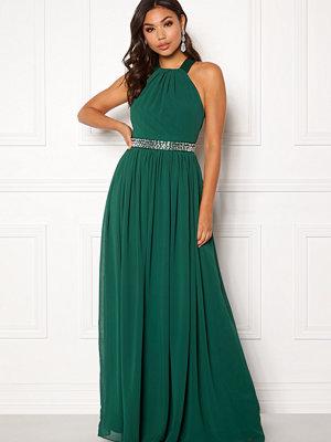 Goddiva Halterneck Chiffon Maxi Dress Green