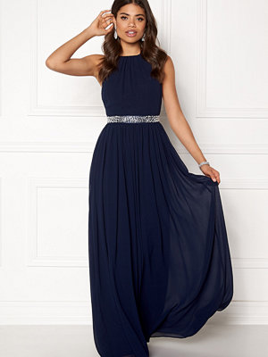 Goddiva Halterneck Chiffon Maxi Dress Navy