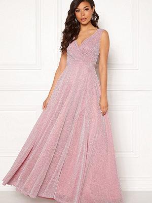 Goddiva Glitter Wrap Maxi Dress Pink