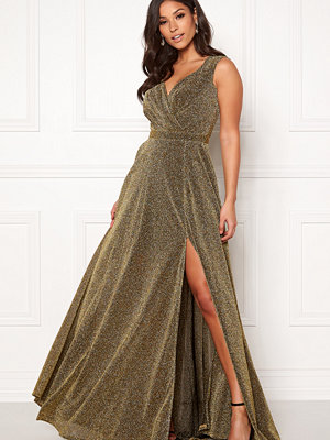 Goddiva Glitter Wrap Maxi Dress Gold