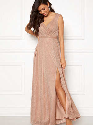 Goddiva Glitter Wrap Maxi Dress Nude