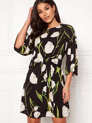 Ax Paris Tie Waist Mini Dress Flower Black