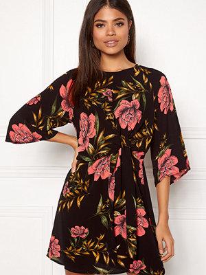 Ax Paris Floral Tie Front Dress Black