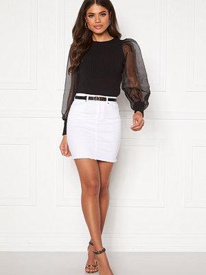 Pieces Aia MW Denim Skirt Bright White