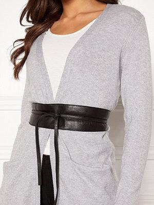 Pieces Vibs Leather Waist Belt Black