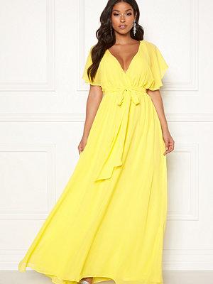 Goddiva Flutter Chiffon Dress Soft Lemon