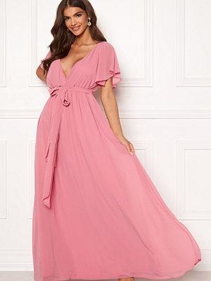 Goddiva Flutter Chiffon Dress Dusky Pink