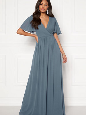 Moments New York Liana Chiffon Gown Grey-blue