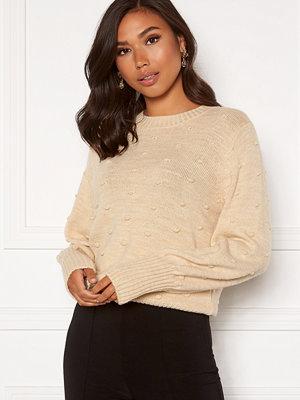Object Bouble L/S Knit Pullover Sandshell Melange