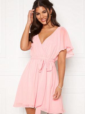 Goddiva Flutter Skater Dress Soft Pink