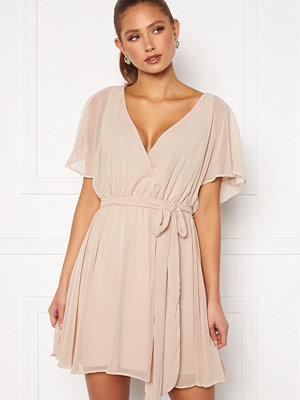 Goddiva Flutter Skater Dress Latte
