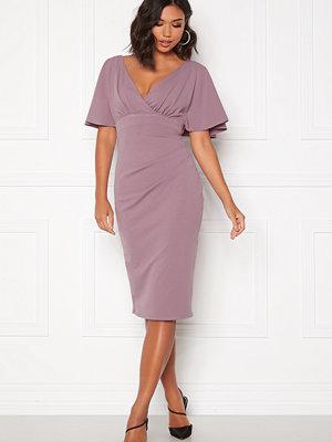 Goddiva Flutter Tie Waist Dress Dusty Lavendel