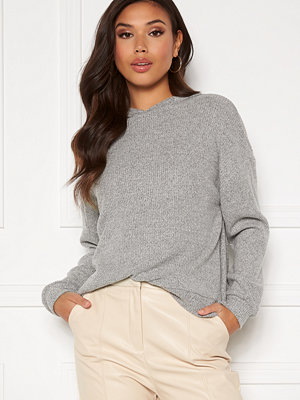 Vero Moda Tia Rib L/S Oversized Hoodie Light Grey Melange