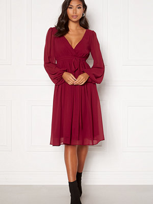Goddiva Chiffon Midi Dress Berry
