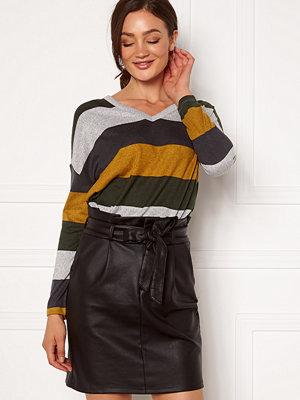 Jacqueline de Yong Tonsy L/S V-Neck Top Grey Stripe Harvest