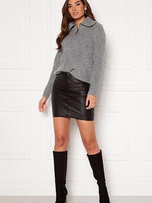 Ichi Darina Leather Skirt Black