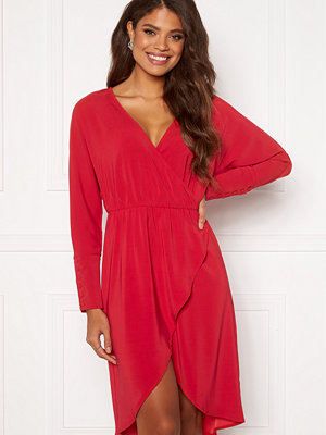 Vila Milena LS Wrap Dress Jetser red
