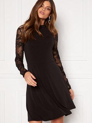 Vila Tryks Lace Detail L/S Dress Black