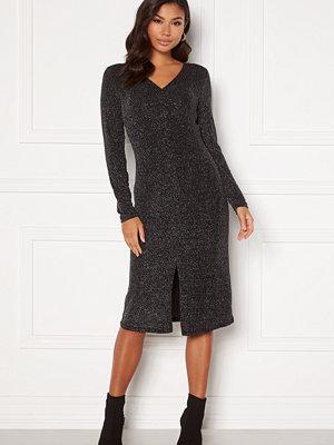 Vila Shinni L/S Glitter Lurex Dress Black, Detail: Silve