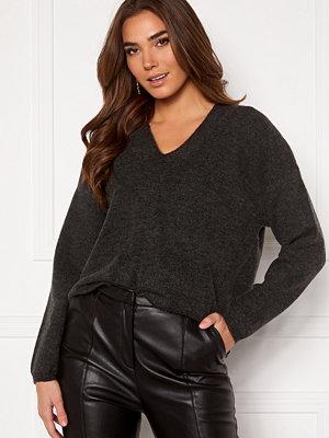 Y.a.s Sellis LS Knit Pullover Dark Grey Melange