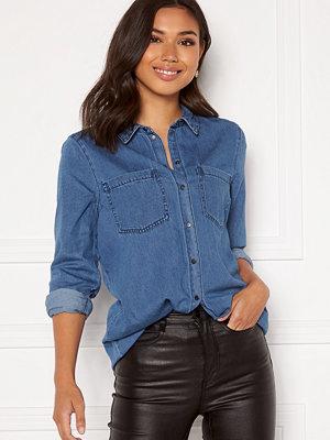 Vero Moda Mila LS Long Shirt Medium Blue Denim