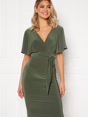 Goddiva Flutter Sleeve Fitted Midi Dress Khaki
