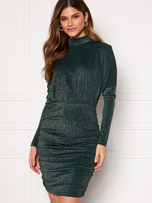 Ax Paris High Neck Rouch Sparkle Dress Teal