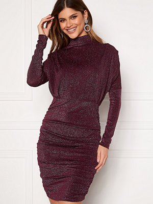 Ax Paris High Neck Rouch Sparkle Dress Plum