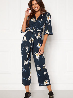 Jumpsuits & playsuits - Happy Holly Simone kimono sleeve  jumpsuit Dark blue / Patterned