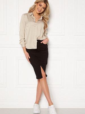 Happy Holly Elina midi denim skirt Black