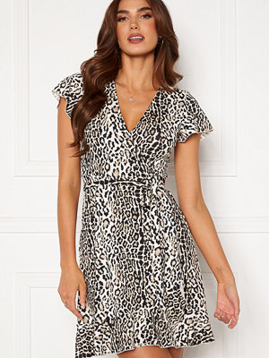 Chiara Forthi Sonnet wrap mini flounce dress Leopard