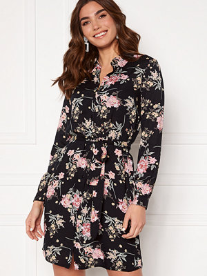 Pieces Paola LS Shirt Dress Black AOP Big Flower