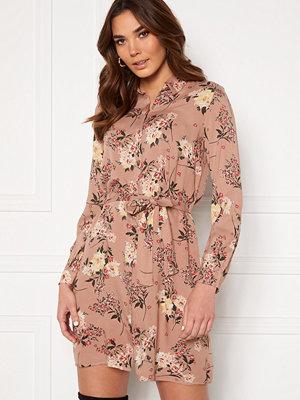 Pieces Paola LS Shirt Dress Warm Taupe AOP Big