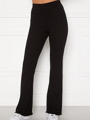 Bubbleroom svarta byxor Lykke rib trousers Black