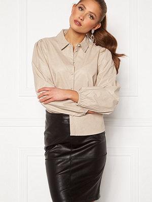 Jacqueline de Yong London L/S Faux Leather Shirt Chateau Gray