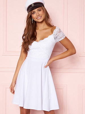 Goddiva Short Sleeve Lace Trim Skater Dress White